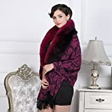 100% Wool Real A Complete Fox Fur Cape Women Poncho/Shawl Scarf