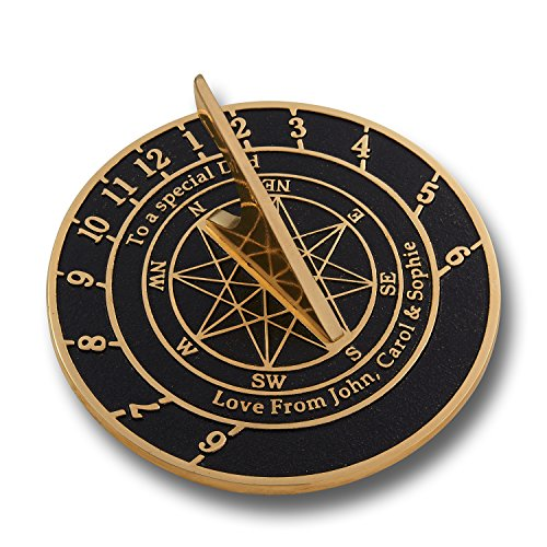 The Metal Foundry Personalized Large English Brass Sundial Gift. This Unique Gift Idea for Him Or Her is Cast with Your Message and Will Make The Perfect Present for Birthday Anniversary Or Christmas