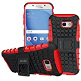 Galaxy A5 2017 Case, OEAGO Samsung Galaxy A5 2017 Case [Shockproof] [Impact Protection] Tough Rugged Dual Layer Protective Case with Kickstand for Samsung Galaxy A5 2017 - Red