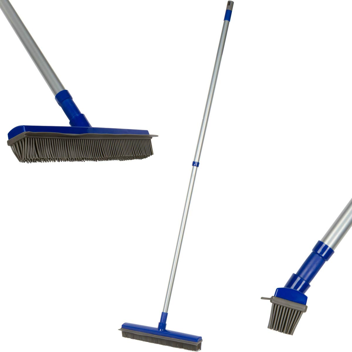 Fur Buster Rubber Broom with Squeegee - Pet Hair Removal -Dog Hair - Cat Hair - Water Spills - Multipurpose Surfaces - Extendable Pole Makes Cleaning Easy by Fox Trot