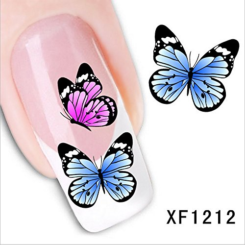 LEECO 5 PCS 3D Self-adhesive Beauty Nail Art Water Transfer Decal Sticker Sexy Lipstick Series Pattern Nail Art Sticker Decorations for Girls,Colorful Butterflies XF1212