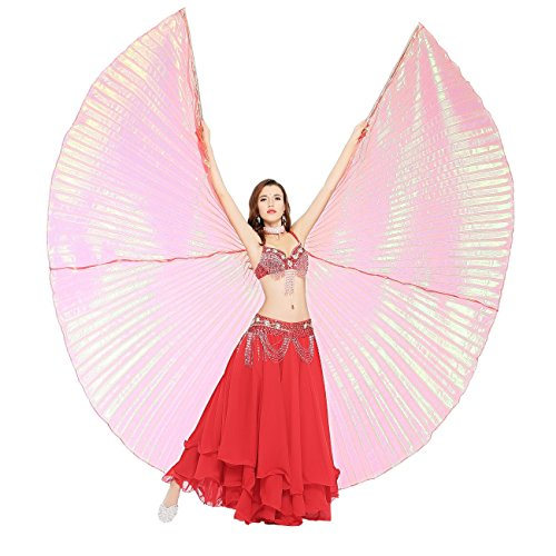 Colorful Dance Costume And Setting (Dance Fairy Belly Dance Isis Wing with Sticks,Red)