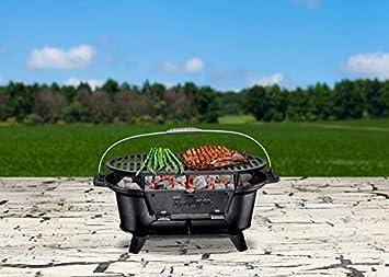 Bruntmor Pre-Seasoned Hibachi-Style Portable Cast Iron Charcoal BBQ Grill