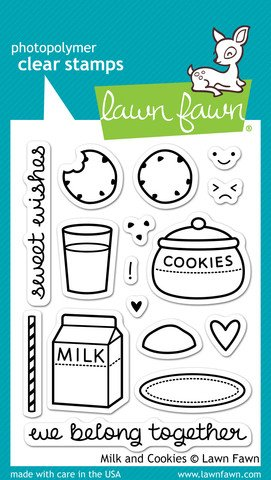 LF725 Lawn Fawn Clear Stamp - Milk And Cookies