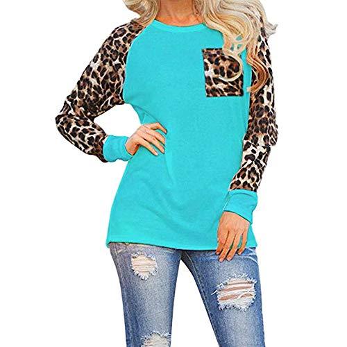 Woman Casual Tops Long Sleeve Leopard Print Patchwork Plus Size T-Shirt Blouses
