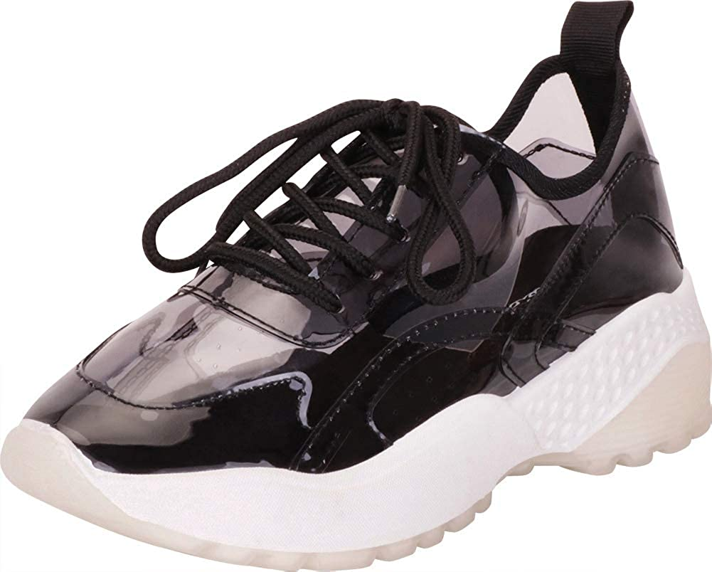 Black Cambridge Select Women's Retro 90s Ugly Dad Transparent See Through Lace-Up Chunky Platform Fashion Sneaker