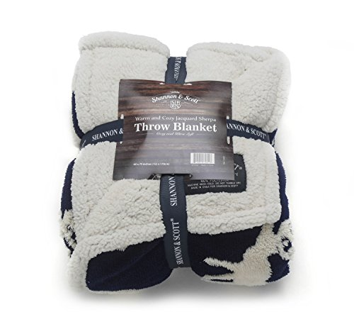 Shannon & Scott Jacquard/Sherpa with Moose Design Oversized Luxury Throw Blanket (Blue)