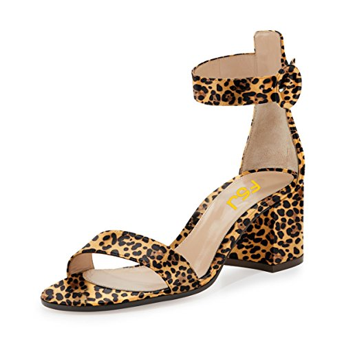 FSJ Women Elegant Ankle Strap Open Toe Sandals Chunky Heels Comfort Evening Party Shoes Size 11 (Leopard Satin Sandals)