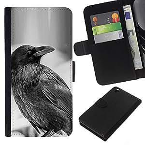 YiPhone /// Tirón de la caja Cartera de cuero con ranuras para tarjetas - Cuervo B & W - HTC DESIRE 816