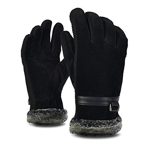 iBaste手袋 男女通用 保温手袋 レザー スエード ファー付け 温かい グローブ 冬 温かい レディース メンズ 柔らかい アウトドア