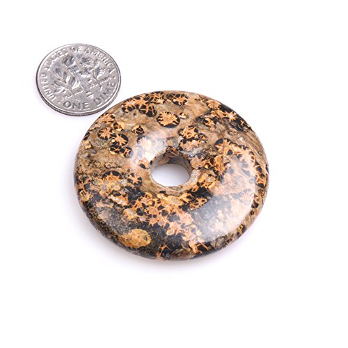 Skin Jasper Bracelet (Natural Ring Circle Donuts Beads for Jewelry Making 1 Piece (40mm/Leopard Skin Texture Jasper))