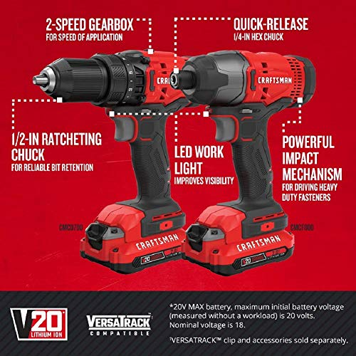 CRAFTSMAN V20 Cordless Drill Combo Kit, 2 Tool (CMCK200C2) - http://coolthings.us