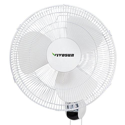 VIVOSUN 16 inch Wall Mount Oscillating Fan W/80 Degree Oscillation, 3 Speed Settings, Adjustable Tilt, Quiet Operation (ETL Certified, White)