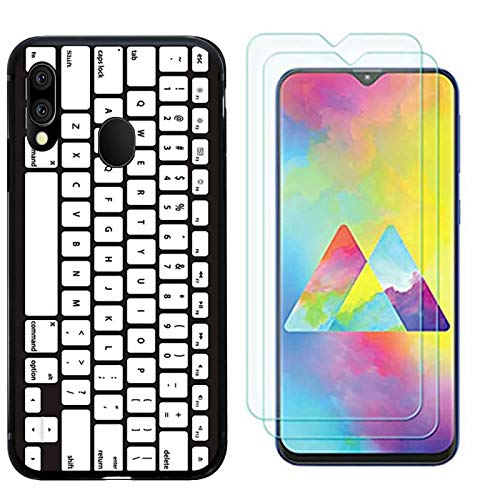 for Samsung Galaxy M20 Case, with 2pcs Screen Protector Tempered Glass Back Soft TPU Shockproof Silicone Gel Bumper Protective Cover for Samsung Galaxy M20-keyboard