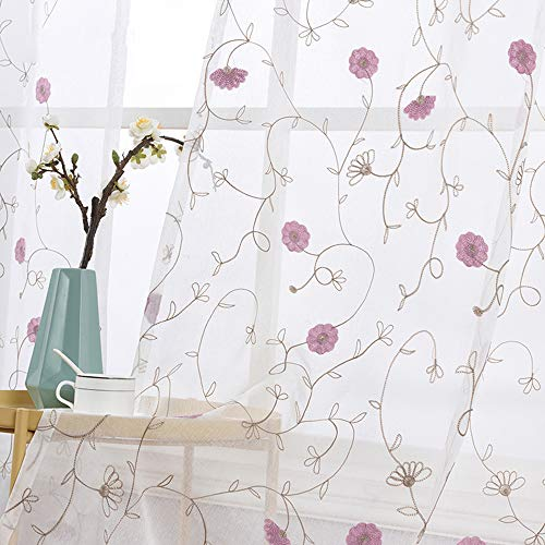 WINYY Hot Pink Floral Sheer Curtain for Sliding Glass Door Rod Pocket Top Window Treatment Embroidered Leaf Dandelion Curtain Voile Home Decor 1 Panel (40 Inch Wide 63 Inch Long) ()
