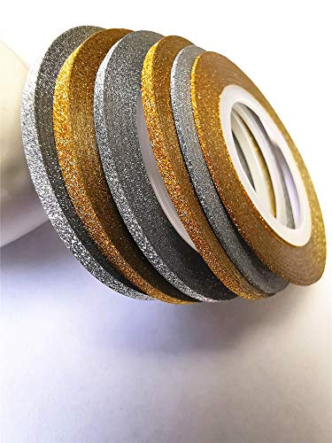 Valuu 6 Rolls Glitter Gold Silver Nail Art Stripping Tape Line Shiny Matte Nail Art Decoration Strips 1mm 2mm 3mm Adhesive Decals Strips DIY Nail Tip