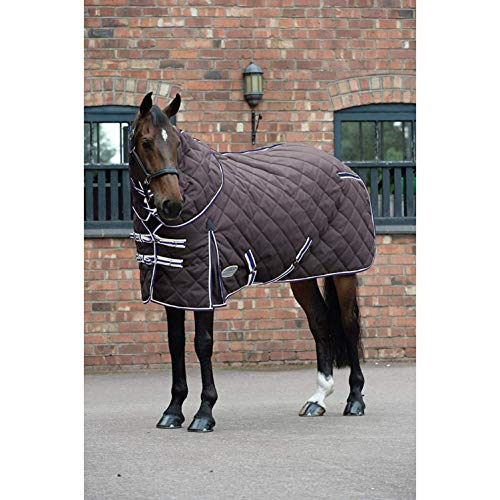 Weatherbeeta Comfitec Heavy 1000d Diamond Quilt Detach-a-neck Stable Rug (6 ft 9) (Charcoal/Blue/White)