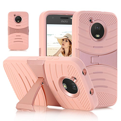 AOSOK MOTO E4 Case, Motorola MOTO E4 (4th Generation) Case, [Kickstand] Heavy Duty Hybrid Silicone Plastic Protective Case with Kickstand for Motorola Moto E4 / Moto E (4th Generation) (Rosegold)
