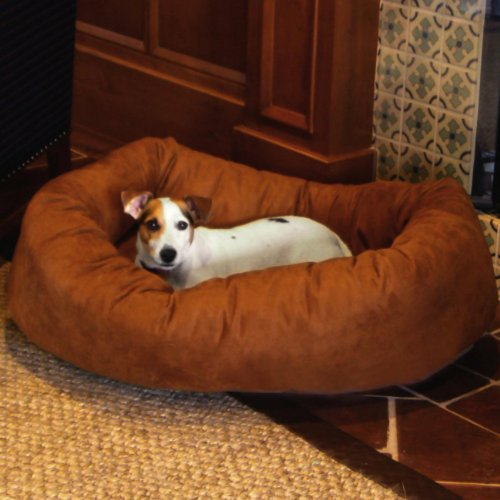 Majestic Pet Extra-Large 52″ Bagel Dog Pet Bed MicroSuede – Rust, My Pet Supplies
