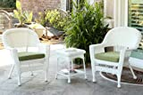Jeco W00206_2-CES029 3 Piece Wicker End Table Set with with Green Chair Cushion, White