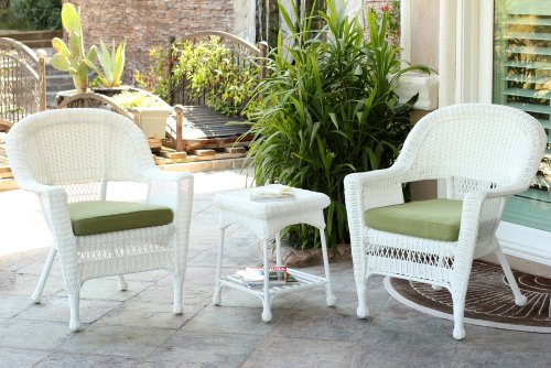 Jeco W00206_2-CES029 3 Piece Wicker End Table Set with with Green Chair Cushion White from Jeco Inc.