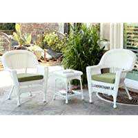Jeco W00206_2-CES029 3 Piece Wicker End Table Set with Green Chair Cushion, White