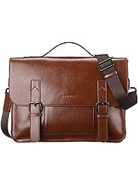 Banuce Men's Vintage PU Leather Briefcase Shoulder Messenger Bag(Brown)