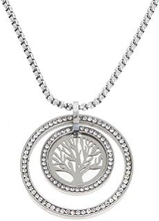 Echt Edelstahl Kette Halskette Lange Kette mit Anhänger Lebensbaum Strass