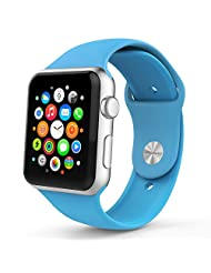 Apple Watch Band, MoKo Soft Silicone Fitness Replacement Sport Band for 42mm Apple Watch All Models, BLUE(3 pieces of bands included for 2 lengths, Not fit Apple Watch 38mm version 2015)