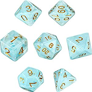 Polyhedral 7-Die Dice Set for Dungeons and Dragons with Black Pouch (Blue)