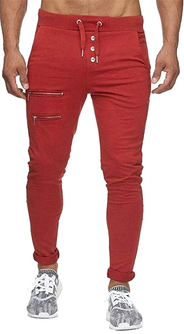 Fubotevic Mens Pure Color Zip Trim Button Up Slim Knitting Drawstring Lounge Pants Trousers
