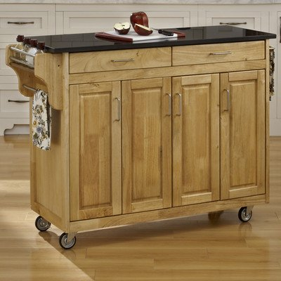 Create-a-Cart Kitchen Cart with Granite Top Base Finish: Natural