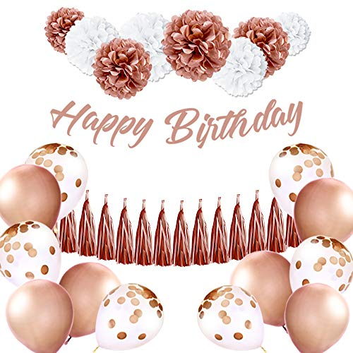 EpiqueOne Rose Gold Birthday Decoration Set: HAPPY BIRTHDAY Banner, Tassel Garland, Latex Balloons, Confetti Balloons, Tissue Paper Pom Poms-Easy To Set Up, Pink Decor Supplies For Women, Girl, Babies (Things To Make Out Of Tissue Paper)