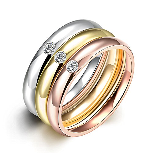 Retop Jewelry Three-piece 18K Gold Plated Wedding Rings Engagement Rings LKN035 (6)