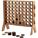 Wood 4 in A Row Game,Widely Favored Connect 4 Kids Board Games Made of Poly-Wood Board, Popular Indoor/Backyard Games for Family and Kids Fun