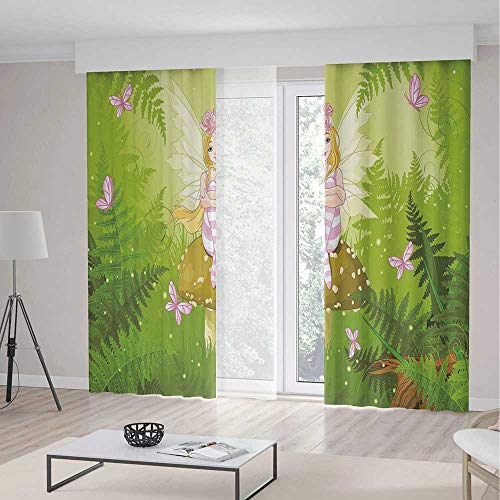 ALUONI Bedroom Curtains Blackout,Nursery,for Living Room,Magic Fairy Girl with Floral Hairstyle in Green Forest Pink Butterflies2 Panel Set,79W X 83L Inches ()