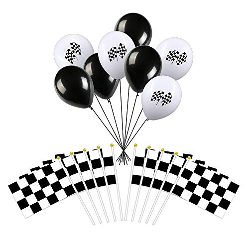 Racing Decorations 25PCS Black & White Checkered Flags 8 x 5.5 Inch Racing Polyester Flags with Plastic Sticks and 20 Checkered Racing Flags Biodegradable Latex Balloons for Racing, Race Car Party