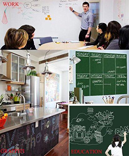 Chalkboard Contact Paper - Chalkboard Sticker Wall Decal with 5 Colored Chalks - Self-Adhesive Wall Sticker Wall Paper Blackboard Wall Decals for School,Office, Home(18''x79'', Black) by ZCHING (Image #3)