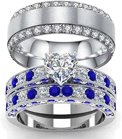 a7121ba762 Gy Jewelry 3pc His and Hers Wedding Ring Sets Couples Rings Women's White  Gold Plated Heart