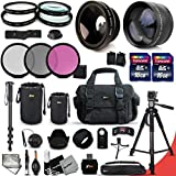 "Canon EOS 750D ACCESSORIES Kit Includes: 58mm High Definition 2X Telephoto Lens + 58mm High Definition Wide Angle Lens + 32GB High Speed Memory Card + 16GB High Speed Memory Card (Total of 48GB) + Full Size Pro Series 72 Inch Tripod + Large Well Padded Case + Pro Grade 72"" inch Monopod + 2 Lens Pouch set (Medium and Large) + 58mm 4 Pieces Close-up Macro Filters + 58mm 3 Piece Filter Set + 58mm UV Protection Filters + 58mm Hard Lens Hoods + 58mm Rubber Lens Hood + External Remote Control + Universal Card Reader + Mini Table Tripod + Memory Case Holder + Screen Protectors + Mini Blower + Cleaning Pen + Lens Cap Holder + Deluxe Cleaning Kit + Ultra Fine HeroFiber Cleaning Cloth"