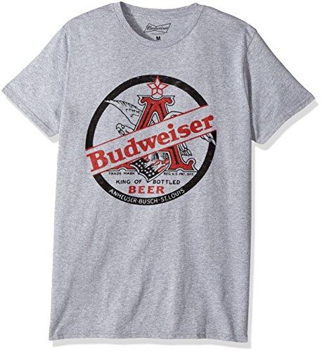 Anheuser Busch Mens Budweiser Short Sleeve Graphic T Shirt  Heather Grey  X Large