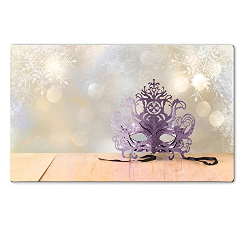Luxlady Natural Rubber Large TableMat IMAGE ID: 34657766 Mysterious Venetian masquerade mask on wooden table and glitter background with snowflake (Masquerade Costumes Nz)