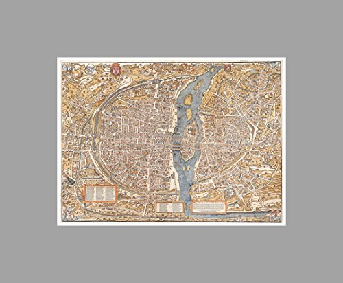 Paris - Vintage City Maps - 24x18 Matte Poster Print Wall Art