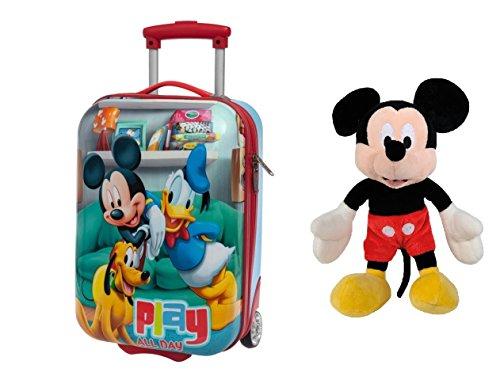 DISNEY: Pack Trolley ABS MICKEY PLAY de 48 cm equipaje de mano + Peluche Mickey Mouse 30 cm sentado y 45 cm de pie.