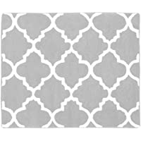 Sweet Jojo Designs Gray and White Trellis Print Lattice Accent Floor Rug