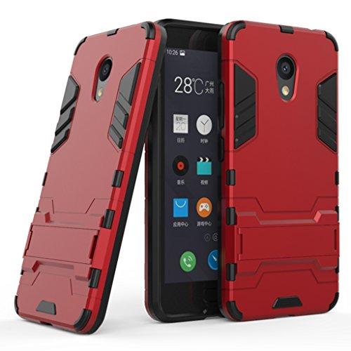 Meizu M5S Funda - Doble Capas Cáscara Silicona Híbrida Protectora Heavy Duty Blindaje Dura Cubierta Posterior con Soporte para Meizu M5S - Oro Rojo