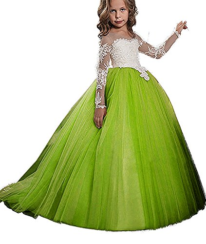 KSDN Girls Toddler Pageant Dress Princess Ball Gown Flower Princess Girls Dress(US 10 Lime Green) (Lime Flower Girl)