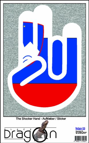 The Shocker Hand Decal Sticker Phone skin 70x50 mm white Outline with Flag Slovenia-Slowenien ()