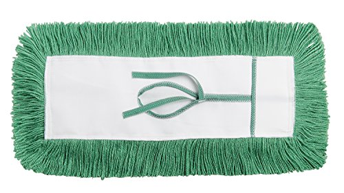 M2 Professional STATIC-H Dust Mop Head, Key Hole (Tie-On) Backing, 36-Inch x 5-Inch - Green - Case of 12 - For Industrial Commercial & Home Uses, Perfect for Hardwood, Laminate, Concrete, etc. by M2 Professional Cleaning Products Ltd. (Image #1)