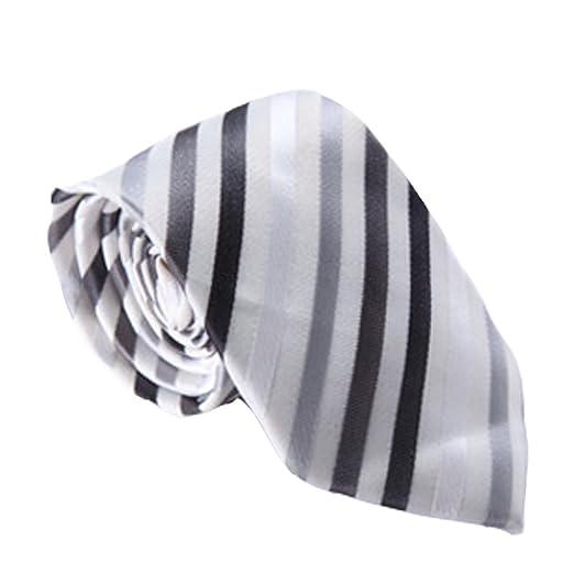 Y-WEIFENG Corbata de Lazo de los Hombres Corbata de Raya Plateada ...